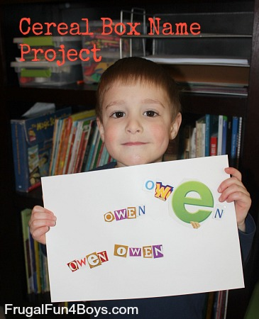 Cereal Box Name Project for Preschoolers