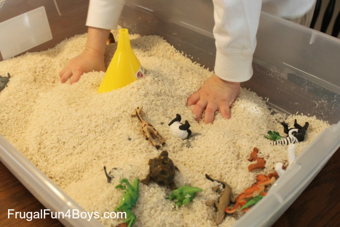 Preschool Play with a Tub of Rice