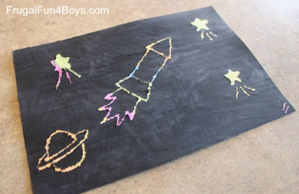 DIY Scratch Art with Crayon and Tempera Paint