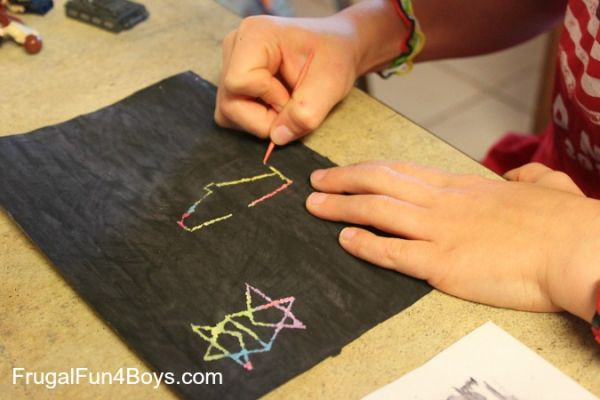DIY Scratch Art with Crayons and Tempera Paint