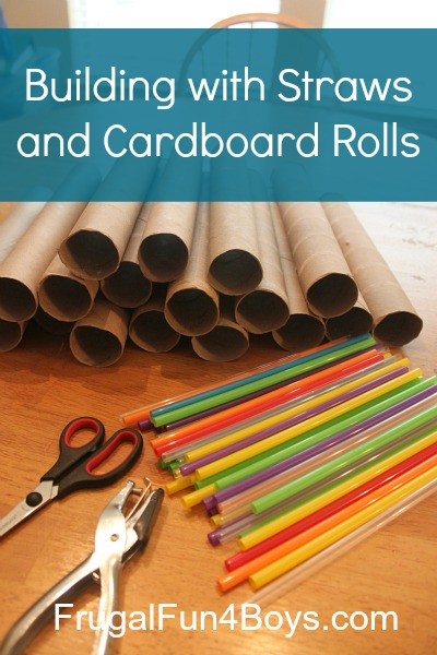 Building with straws and cardboard rolls