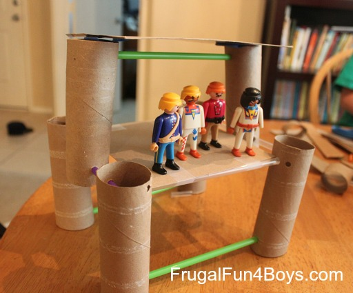 Building with cardboard rolls and straws - fun!