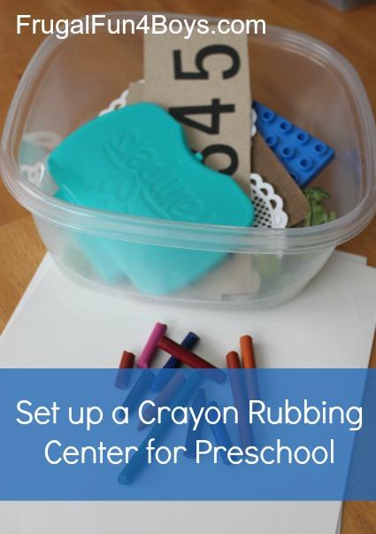 Set up a crayon rubbing center for preschoolers