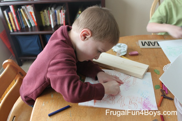 Set up a crayon rubbings center for preschoolers