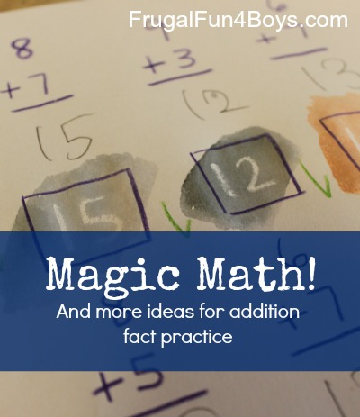 """Magic Math - Spice up addition fact practice with """"magically"""" appearing numbers!  More ideas for addition fact practice, too."""