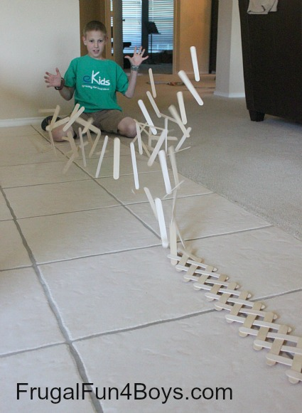 Build an exploding chain reaction from craft sticks