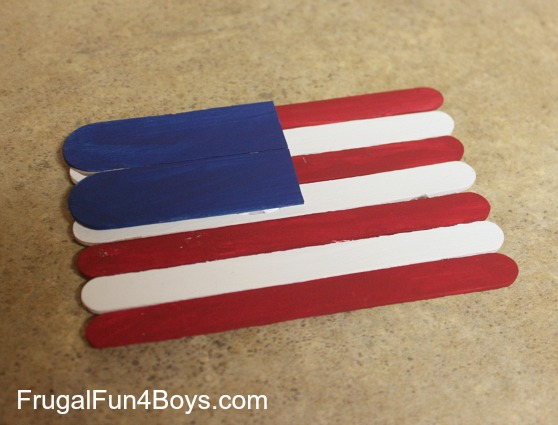 Make a flag out of popsicle sticks