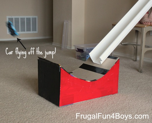 Turn a cardboard box into a jump for Hot Wheels cars!