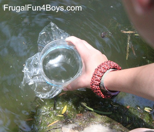 Make a water scope to see more clearly into a pond or stream