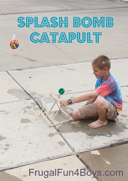 Build a catapult to shoot splash bombs or ping pong balls