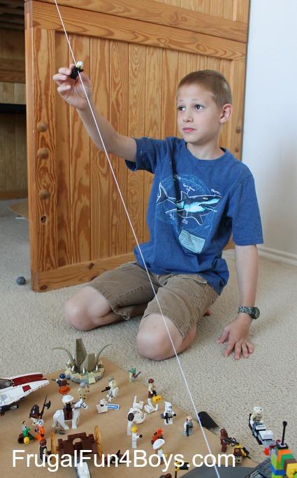 Make a Lego zipline!