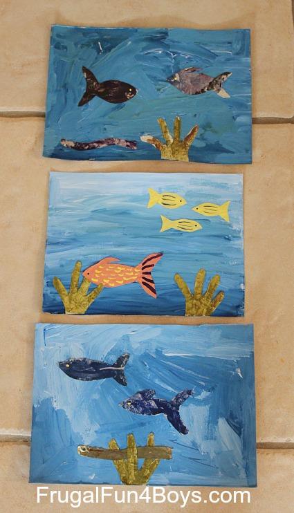 Make ocean paintings with foil fish!