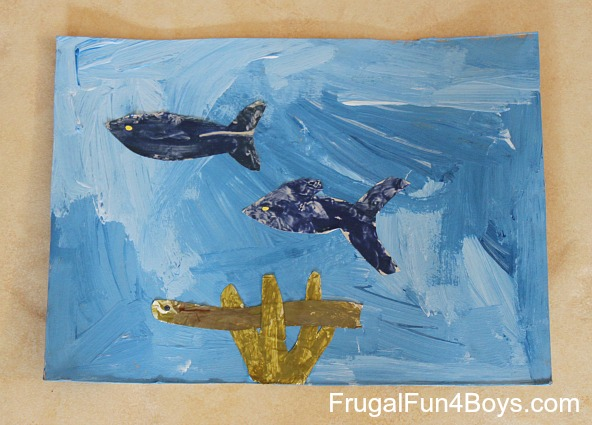 Make an ocean painting with foil fish!