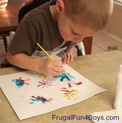 Fireworks paintings with glue, salt, and watercolors