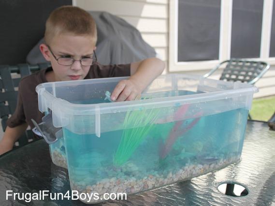 Make an ocean tub for pretend play