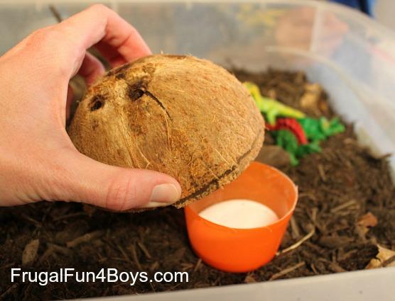 Make a coconut volcano