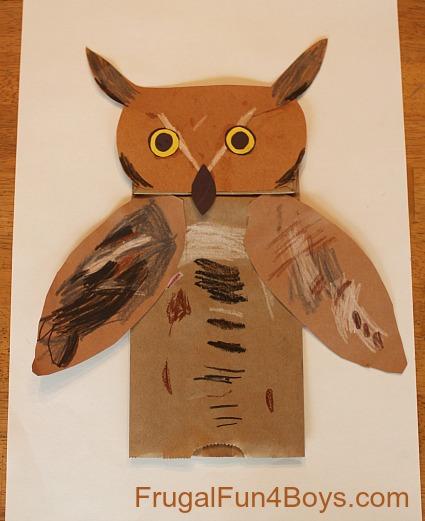 Owl Paper Bag Puppets
