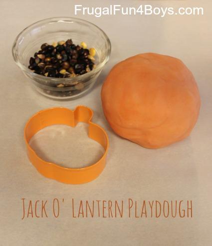 Jack O' Lantern playdough faces