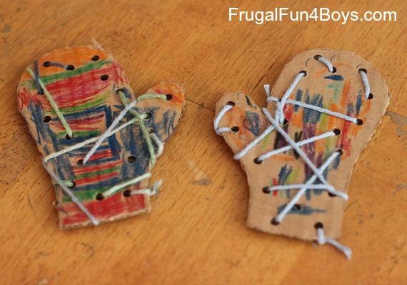 Lacing Mittens Craft for Preschoolers