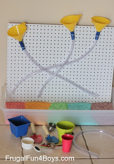 Sensory Play with a Funnels and Tubes Pegboard
