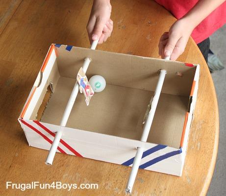 DIY Shoebox Foosball Game