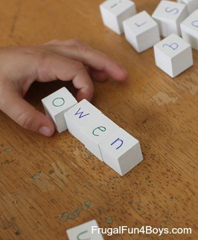 DIY Letter Blocks for Spelling and Phonics