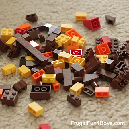 Fall Leaf Lego Shadow Box