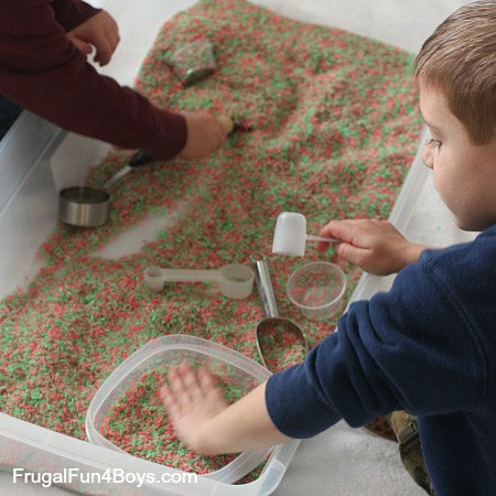 How to make candy cane scented rice for play