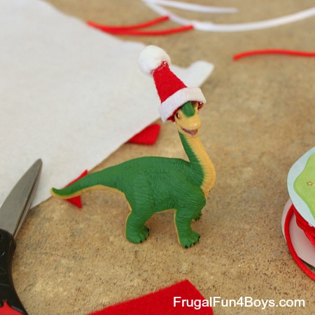 Turn Toy Dinosaurs into Christmas Ornaments