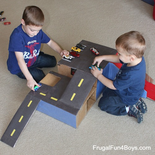 Cardboard Box Garage for Hot Wheels Cars