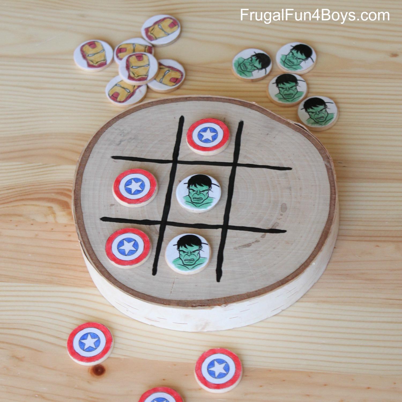 DIY Avengers Wooden Tic Tac Toe Game