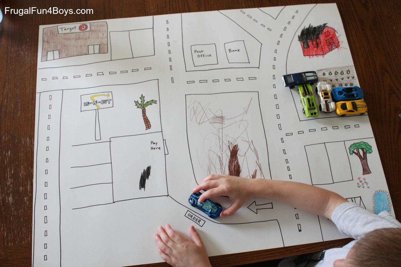 DIY Poster Board Hot Wheels Car Play Mat