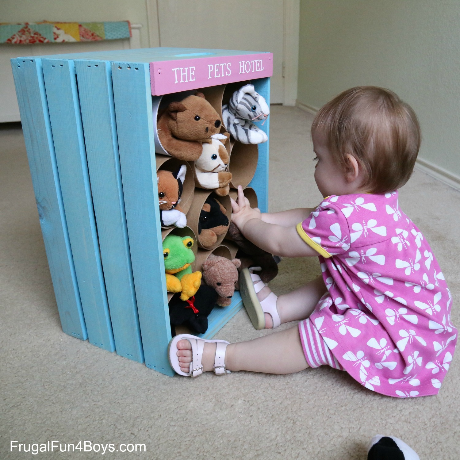 Wooden Crate Stuffed Animal Storage