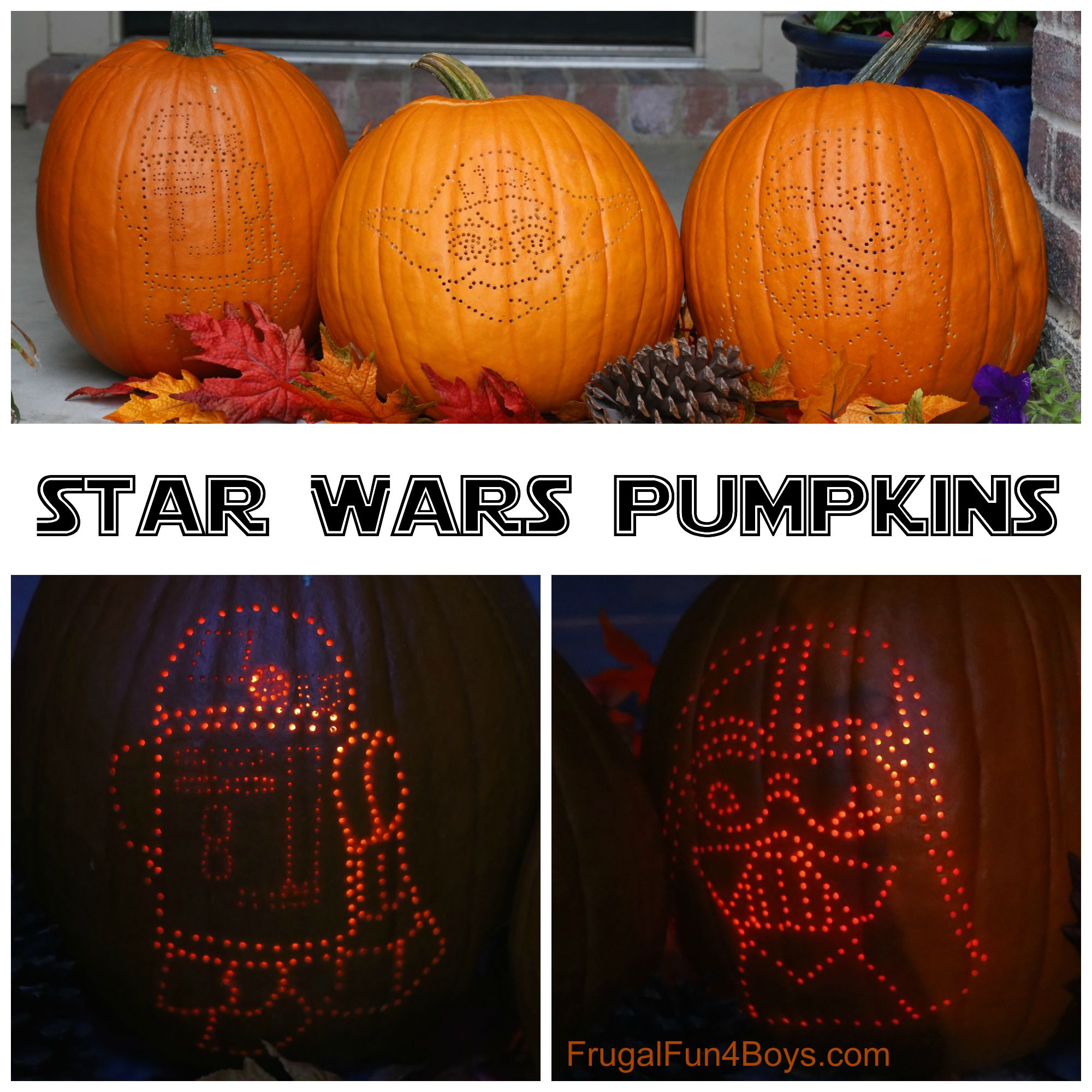 How to Make Awesome Star Wars Pumpkins - With tips for getting the design onto the pumpkin!