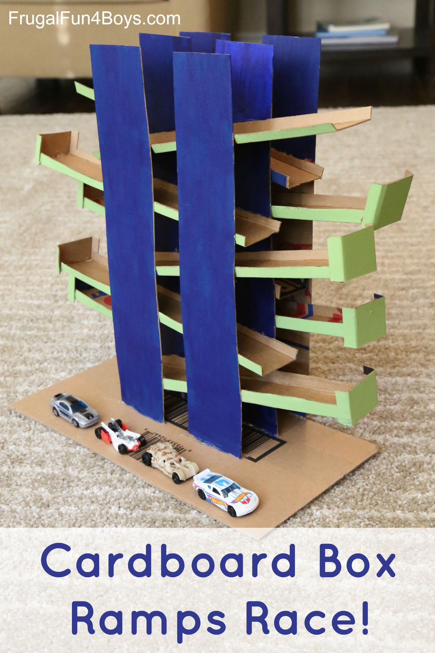 Cardboard Box Ramps Race - DIY Toy for Hot Wheels Cars