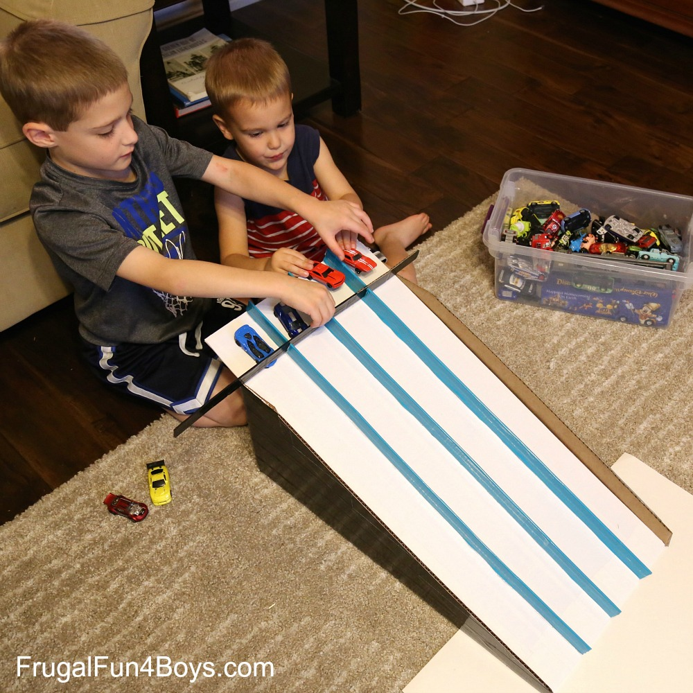 Cardboard Box Race Track for Hot Wheels Cars