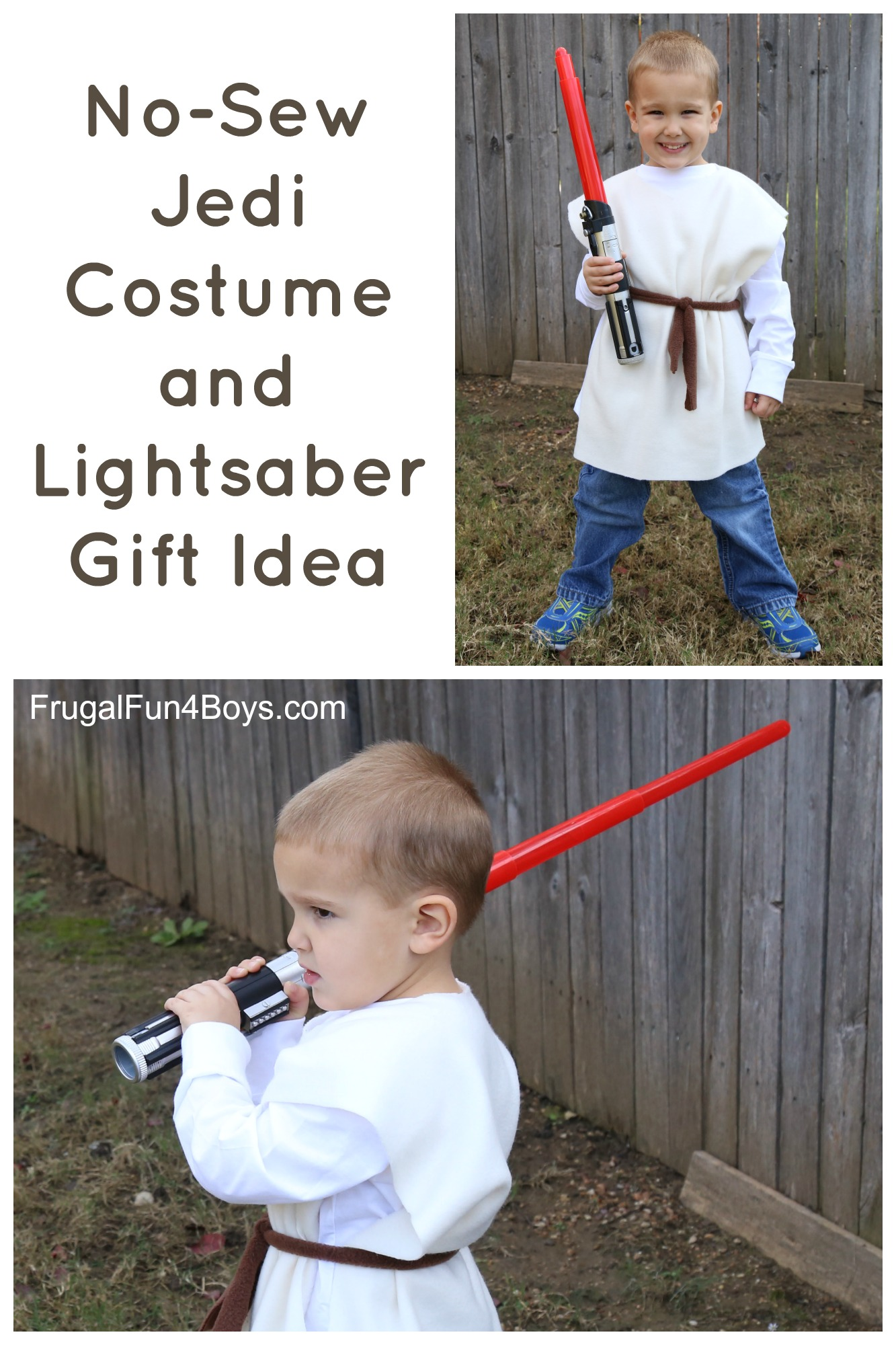 Star Wars Lightsaber and 10 Minute No-Sew Jedi Costume Gift Idea