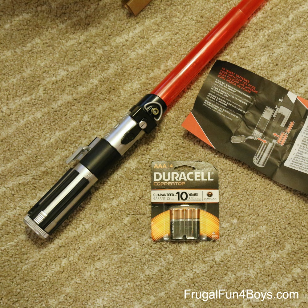 Star Wars Lightsabers and No-Sew Jedi Costume Gift Idea