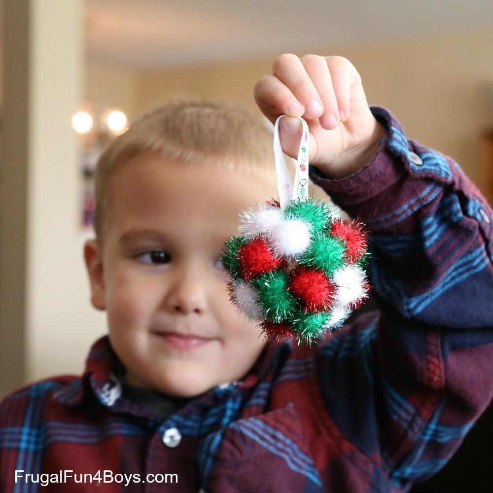 Sparkly Pom Pom Ball Christmas Ornaments for Kids to Make