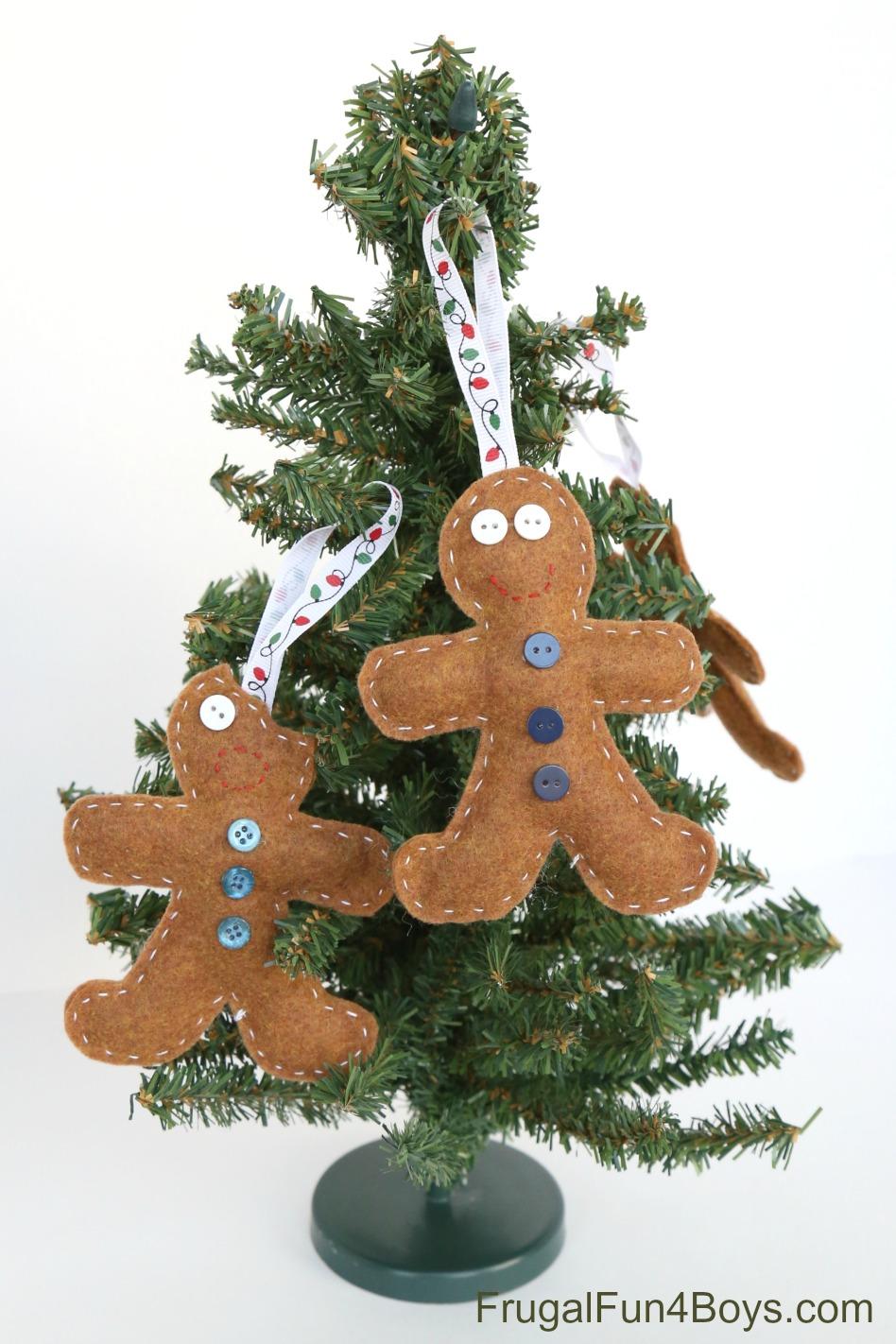 Felt Gingerbread Ornaments for Kids to Make