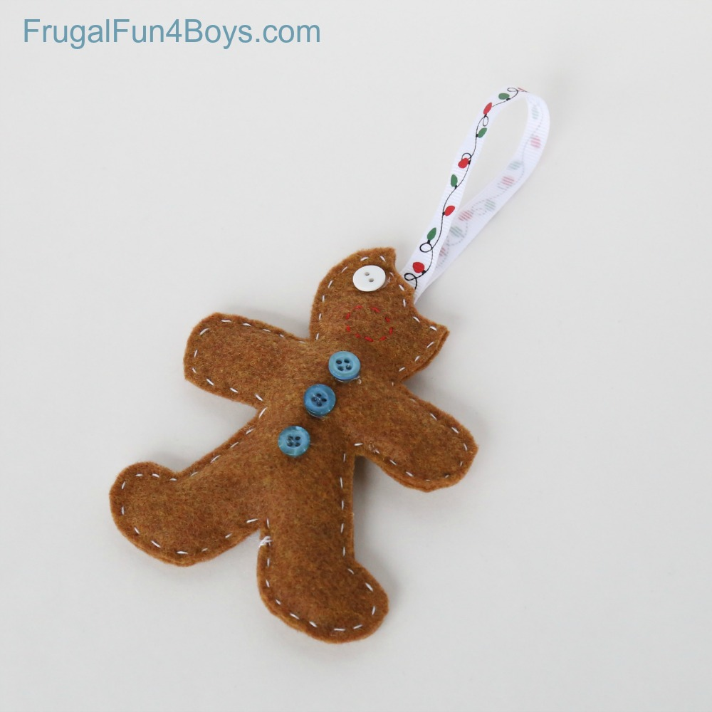 Felt Gingerbread Ornaments for Kids to Make and Give