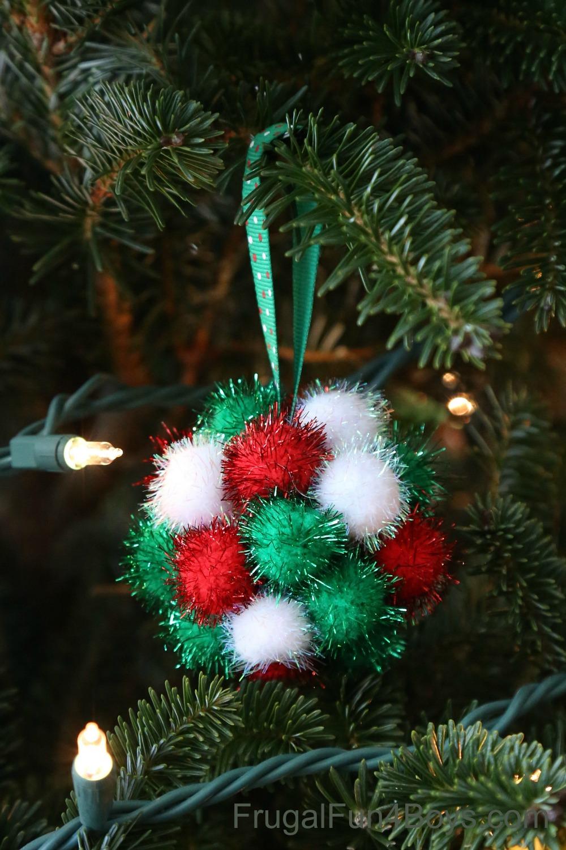 Sparkly Pom Pom Ornaments for Kids to Make