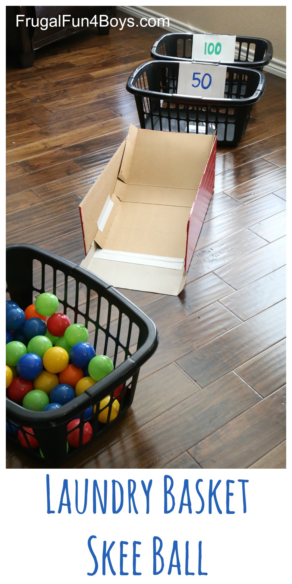 Laundry Basket Skee Ball With Ball Pit Balls Frugal Fun For Boys And Girls