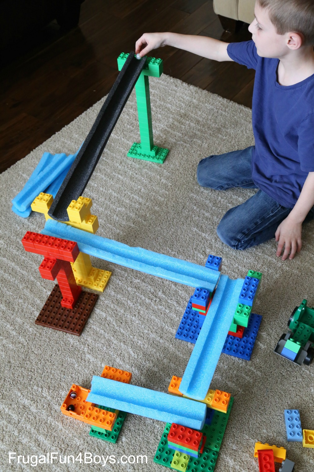 STEM Building Challenge for Kids: Create a LEGO Duplo and Pool Noodle Marble Run