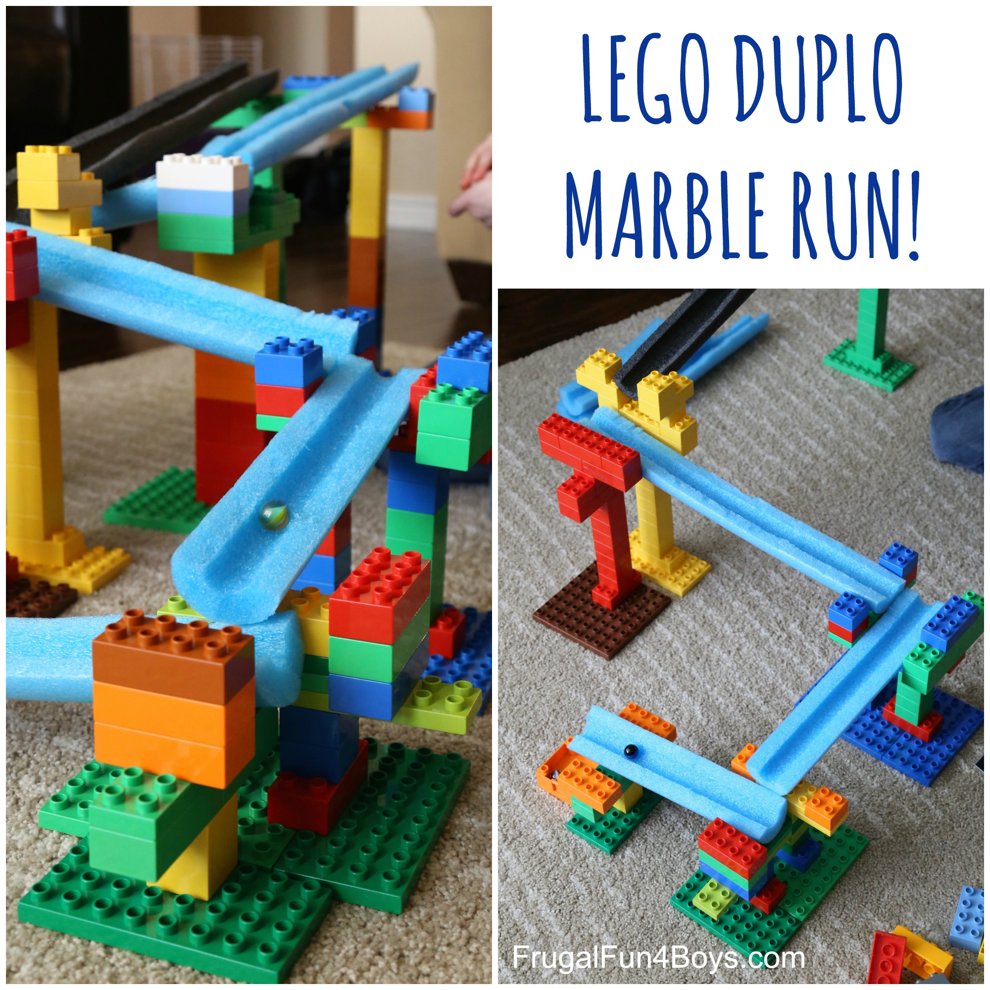STEM Building Challenge for Kids: Engineer a LEGO Duplo and Pool Noodle Marble Run!
