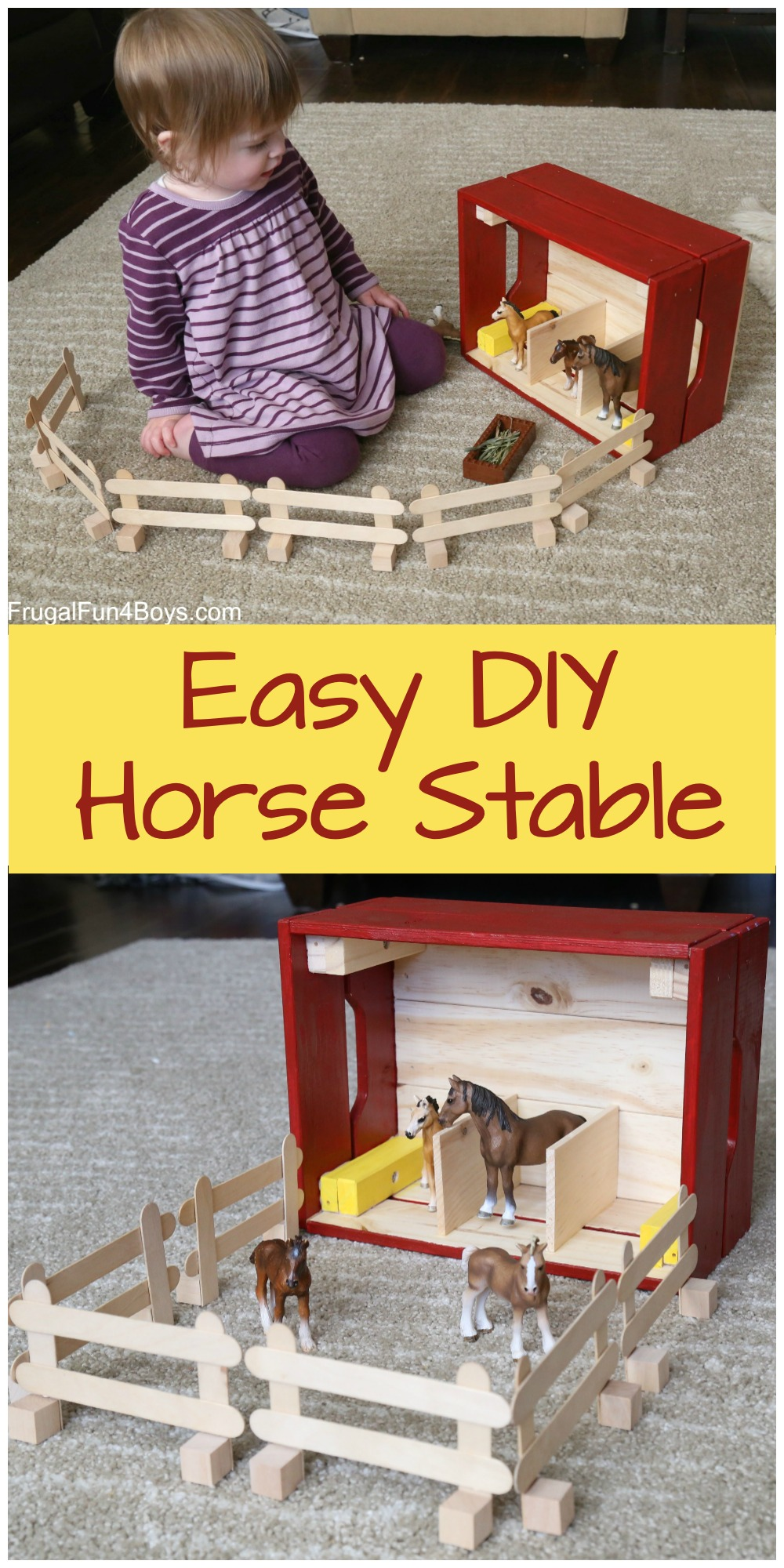 Ikea Hack Knagglig Wooden Crate Horse Stable For Toy Horses Frugal Fun For Boys And Girls