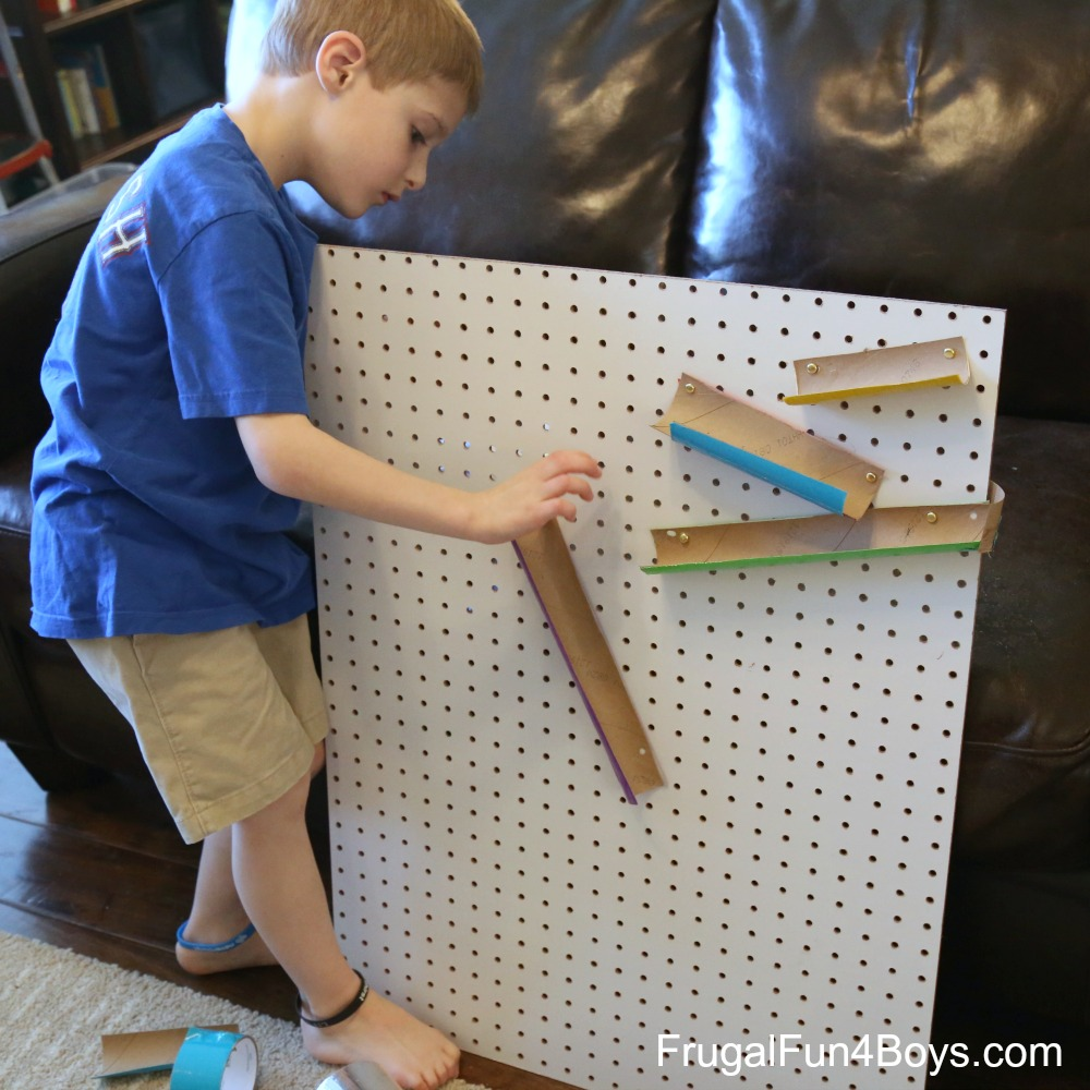 Build a Pegboard Marble Track