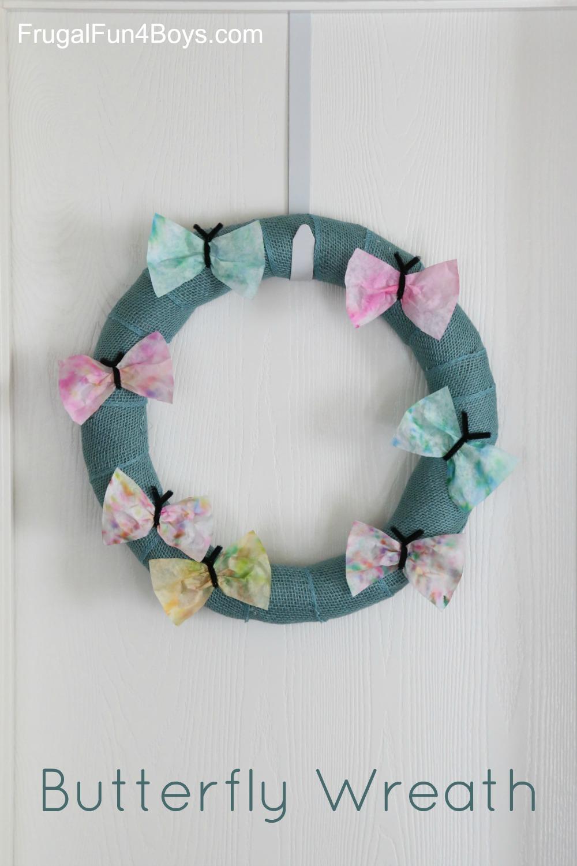 Coffee Filter Butterflies - Spring Wreath