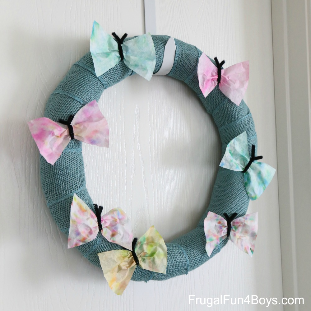 Coffee Filter Butterfly Wreath