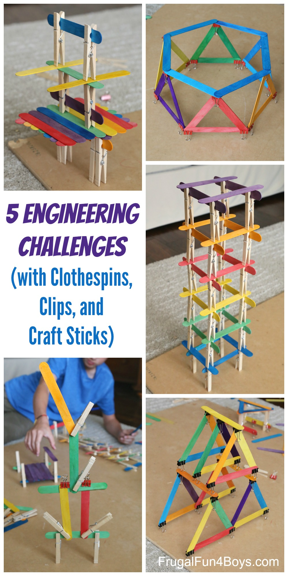 5 Engineering Challenges with Clothespins, Binder Clips, and Craft Sticks